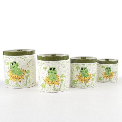 Sears Roebuck & Co. Frog Themed Metal Canisters, 1970s