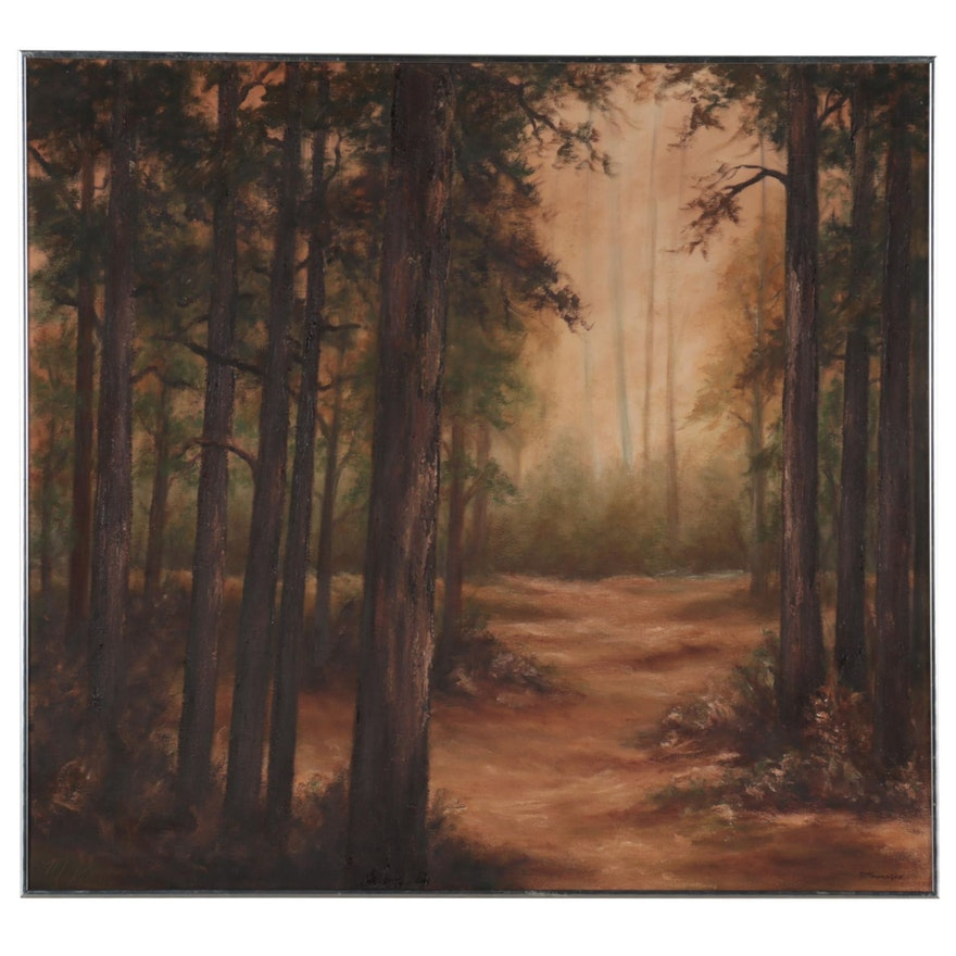 Landscape Oil Painting of Forest Path, Late 20th Century