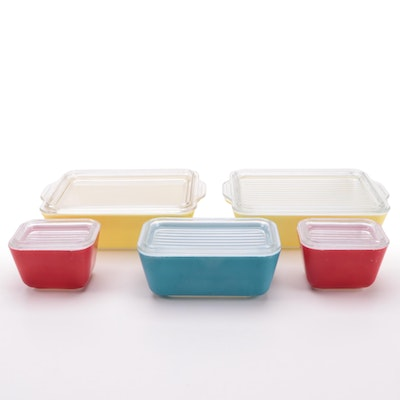 Pyrex Primary Color Glass Refrigerator Boxes, Mid-20th Century