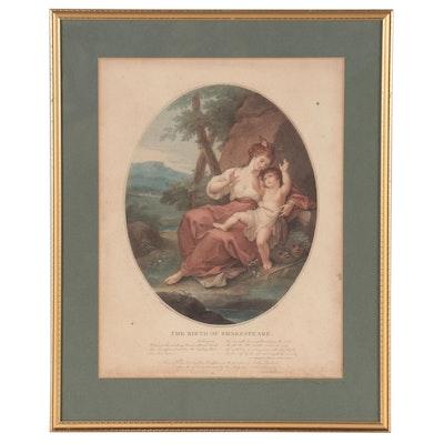 "Francesco Bartolozzi Hand-Colored Etching ""The Birth of Shakespeare"""