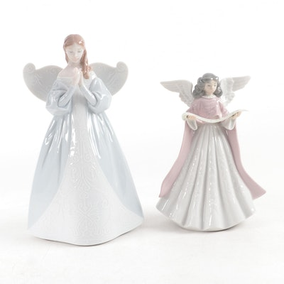 """Lladró """"Celestial Scent"""" and """"Angel Navidad"""" Porcelain Figurine and Tree Topper"""