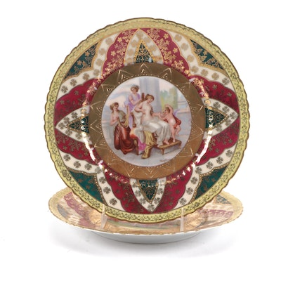 Royal Vienna Style Porcelain Cabinet Plates, Late 19th to Early 20th Century