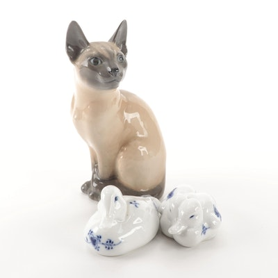 Royal Copenhagen Porcelain Cat and Duck Figurines