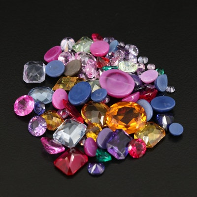 Loose Mixed Gemstones with Linde Star and Lab Grown Sapphire and Ruby