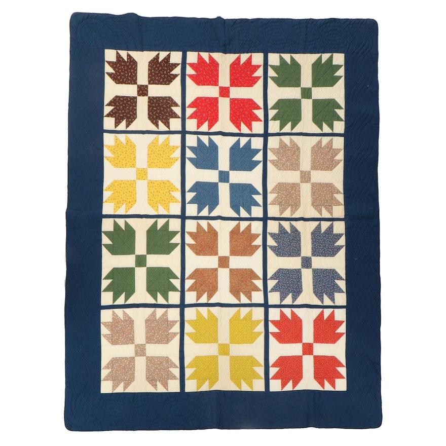 """Handmade """"Bear's Paw"""" Pieced Quilt"""