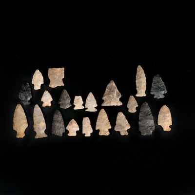 20 Native American Stemmed, Corner and Side Notched Projectile Points