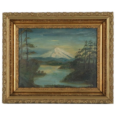 Landscape Oil Painting of Mount Rainier, Early-Mid 20th Century