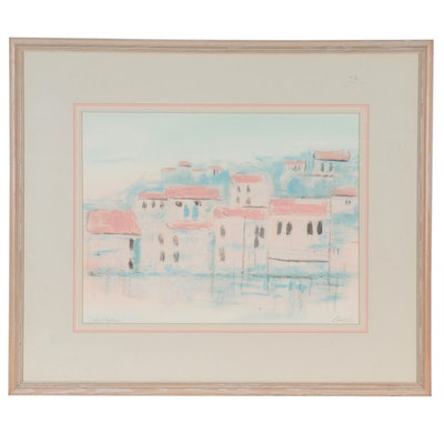 """Mixed Media Painting """"Pastel Village,"""" Late 20th Century"""