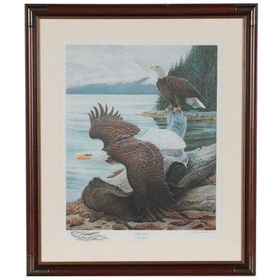 """John Ruthven Offset Lithograph """"Bald Eagles at Misty Fjords,"""" Late 20th Century"""