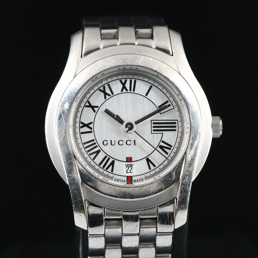 Swiss Gucci Stainless Steel with Date Wristwatch