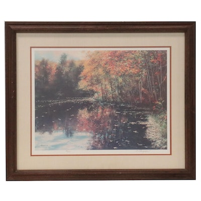 """Richard Earl Thompson Offset Lithograph """"Only in Autumn,"""" Late 20th Century"""