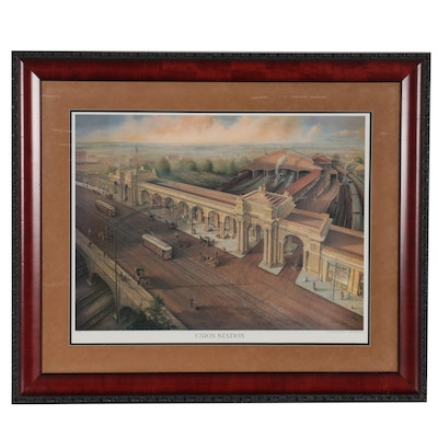 """Michael Dickinson Offset Lithograph """"Union Station,"""" Late 20th Century"""