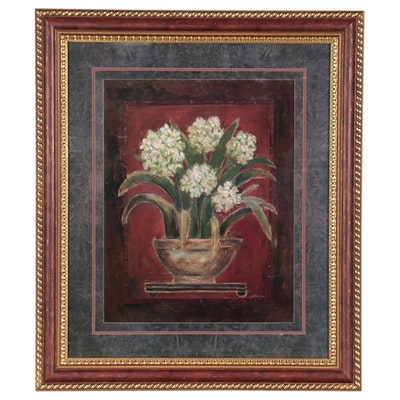 Large-Scale Still Life Offset Lithograph of Flowers, Late 20th Century