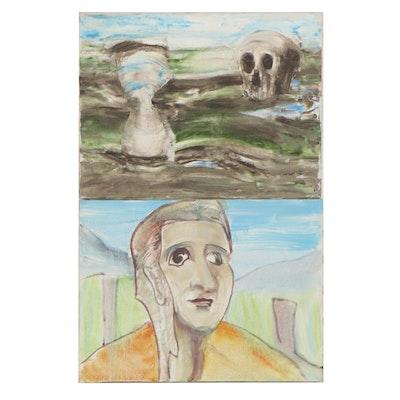 Jon Scharlock Oil Paintings of Memento Mori and Portrait, Circa 2000