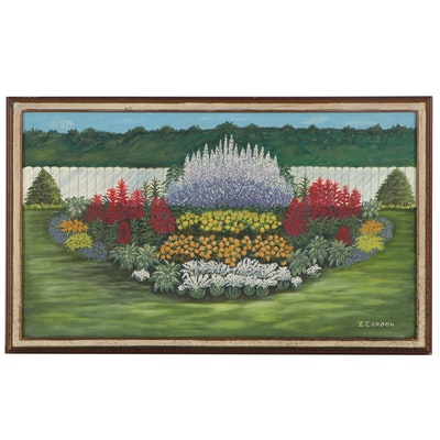"""Landscape Oil Painting """"Backyard Floral Arrangement,"""" Late 20th Century"""