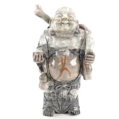 Japanese Carved Marble Hotei Figurine