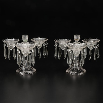 French Crystal Candelabras, 20th Century