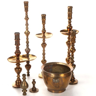 Brass Temple Candlestick and Planter, Mid to Late 20th Century