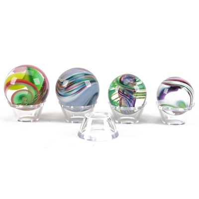 Mark Matthews Glass Orbs with Acrylic Display Stands