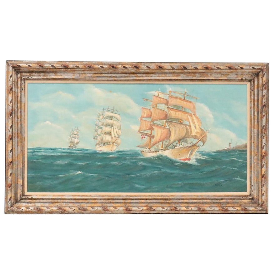 Large-Scale Seascape Oil Painting of Ships on the Ocean, Late 20th Century