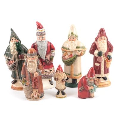 Vaillancourt Folk Art Chalkware Santa Figurines