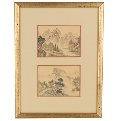 Chinese Style Miniature Landscape Gouache Paintings