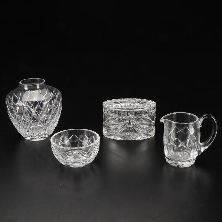 Atlantis Vase and Waterford Crystal Trinket Jar and Cream and Sugar Bowl