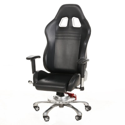 """PitStop Furniture """"Grand Prix Series"""" Black Office Chair with Automotive Accents"""