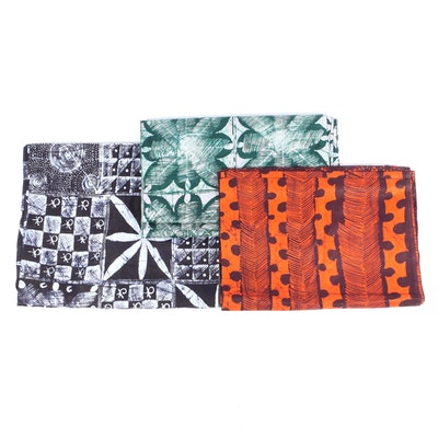 African Adire Cloth Resist Dyed Cotton Fabric Remnants