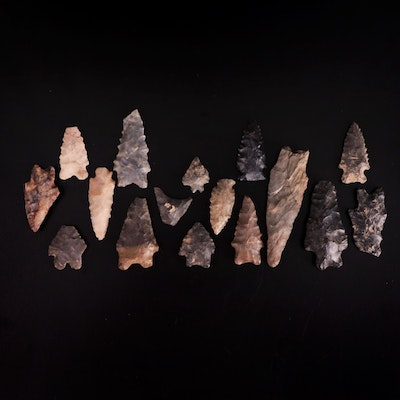 Native American Serrated Projectile Points with Bifurcated and Lobed Bases