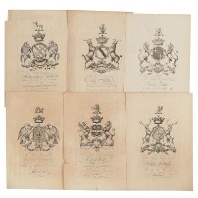 """Baronagium Genealogicum"" Engravings of Coat of Arms or Heraldry"