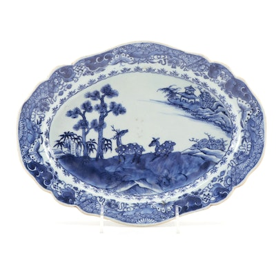 Chinese Export Porcelain Blue and White Deer and Pine Meat Platter