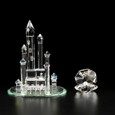 """Swarovski Silver Crystal Castle and """"Shell with Pearl"""" Figurines"""
