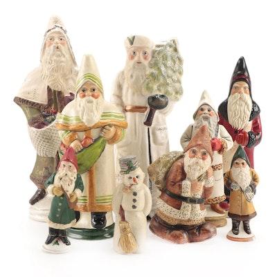 Vaillancourt Folk Art and Walnut Ridge Collectibles Chalkware Santa Figurines