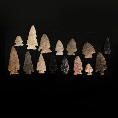 15 Native American Corner Notched Projectile Points with Eared and Flared Bases