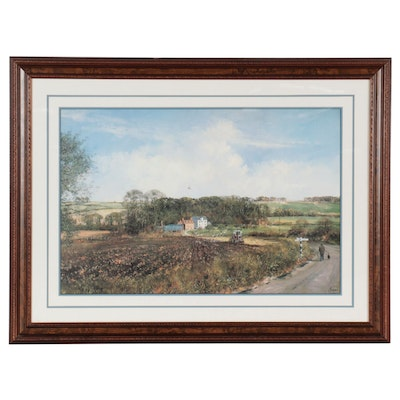 Landscape Offset Lithograph After Clive Madgwick of Farm, Late 20th Century
