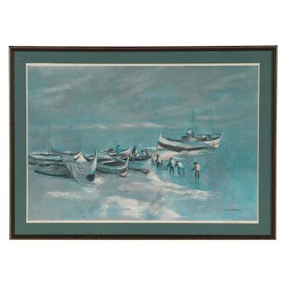 """Robert Fabe Offset Lithograph """"Aegean Fishermen"""""""