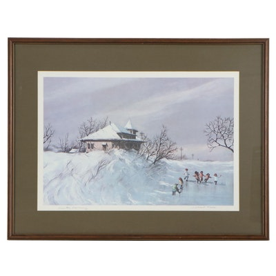 "Robert Fabe Offset Lithograph ""Winter Morning"""