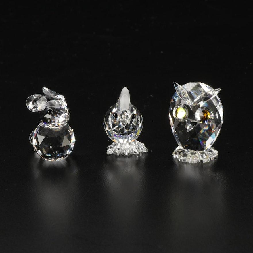 Swarovski Silver Crystal Rabbit, Owl and Chicken Figurines