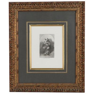 "Musée du Louvre Etching After Rembrandt van Rijn ""Man Seated, Reading"""