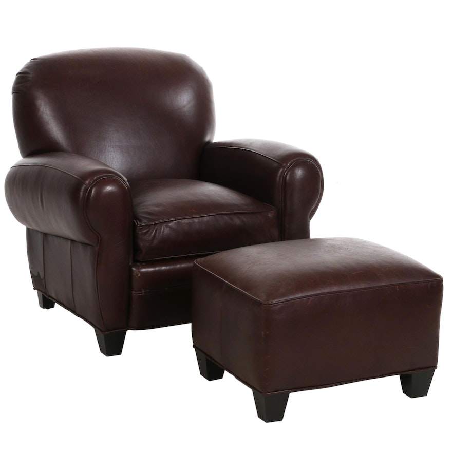 Cambridge Collection for Arhaus Leather Armchair and Ottoman