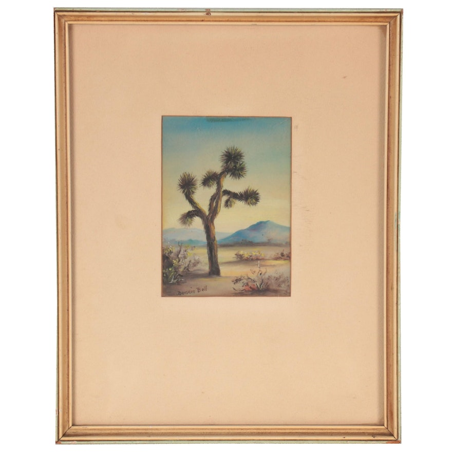Bonnie Bell Watercolor Painting of Desert, Mid-20th Century