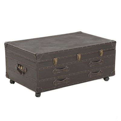 Leather Covered Storage Trunk Coffee Table on Casters