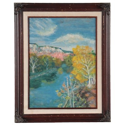 Abstract Landscape Oil Painting, Late 20th Century