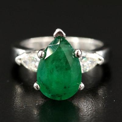 Platinum 2.85 CT Emerald and Diamond Ring