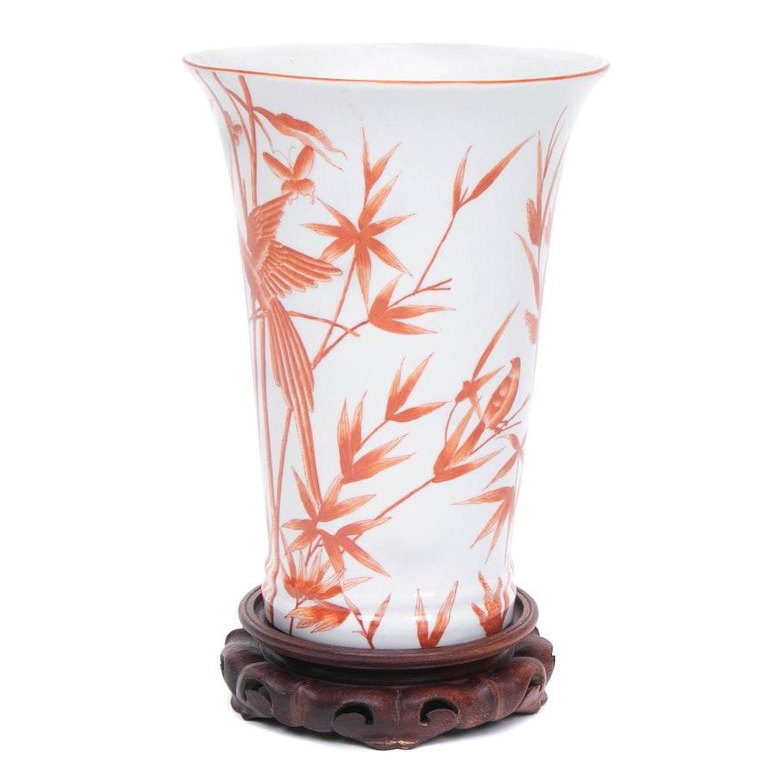 Chinese Hand-Painted Ceramic Vase on Base, Late 20th Century
