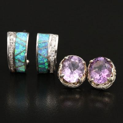 Sterling Amethyst, Labradorite, Opal and Cubic Zirconia Earrings
