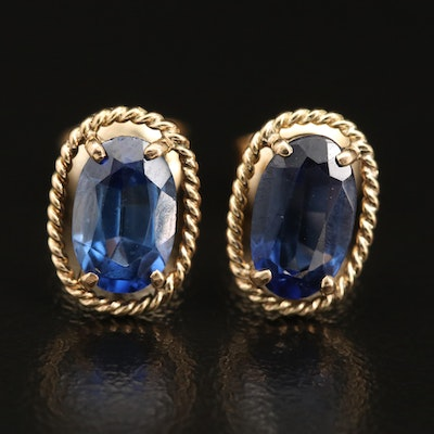 10K Oval Sapphire Earrings with Rope Detail
