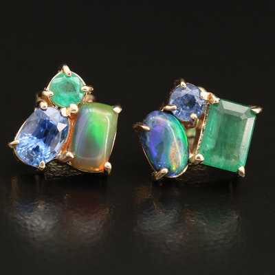 14K Tanzanite, Opal and Emerald Earrings
