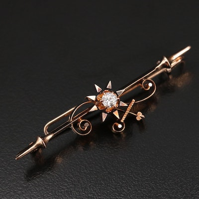 Early 1900s 14K Diamond Brooch with Knife-Edge and Buttercup Setting